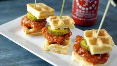 Little sriracha chicken waffle sliders make a hit appetizer or hearty snack!