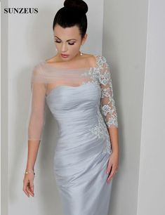 in_love Silver Mother of The Bride Dress Sheer Sleeves Bateau Neck Appliques Lace Tulle Satin Knee Length Short Formal Party Gowns Custom Size Mother Of Groom Dresses, Bride Groom Dress, Mothers Dresses, Older Bride Dresses, Mother Of The Bride Gowns, Mother Of The Bride Jackets, Groom Outfit, Mob Dresses, Bridesmaid Dresses