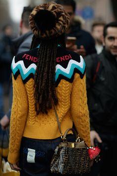 Fendi Cable & Logo Jacquard Sweater