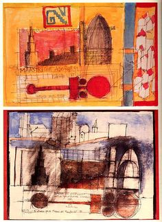 Aldo Rossi, Architectural Drawings, Drawing Sketches, Geometry, Architects, Pencil, Ink, Artists, Painting