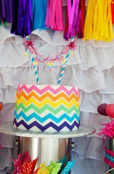 Chevron rainbow art party cake