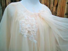 Vanity Fair Peignoir Set - Two Piece Double Chiffon - Nightgown and Robe Set / Honeymoon Negligee Teddie - Size Small or Medium / S - M