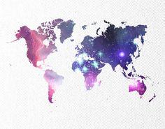 WORLD MAP POSTER Galaxy Universe World Map by theNATIONALanthem