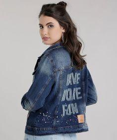 95e00f027 Jaqueta-Jeans-Destroyed-com-Respingos-Azul-Escuro-8728971-