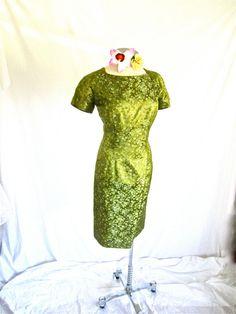SOLD: Sz. L, 50s Peridot Green Floral, Brocade Wiggle Dress, Satin