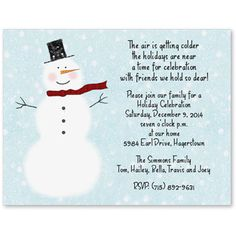 Christmas Party Invitation Wording Snowman Invitations Words Family