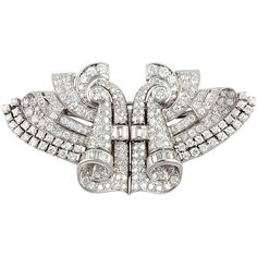 Preowned Art Deco Platinum & Diamond Clips / Pin (398.025.265 IDR) ❤ liked on Polyvore featuring jewelry, brooches, multiple, art deco inspired jewelry, deco jewelry, deco brooch, pin brooch and preowned jewelry