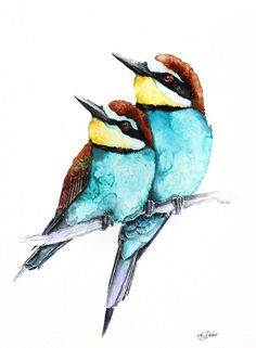 ARTFINDER: bee-eaters (Merops apiaster) by Karolina Kijak - Original watercolors of bee-eaters (Merops apiaster) Paper 300g,  100% cotton size 23x31cm  Follow me on facebook: https://www.facebook.com/kijakwatercolors