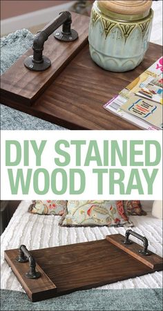 DIY stained wood tray. Super simple tutorial and so easy to make!!