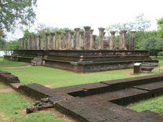 The Palace Complex of King Nissanka Malla (1187-1196) is next to Parakrama Samudra reservoir on the west side of Polonnaruwa, Sri Lanka,