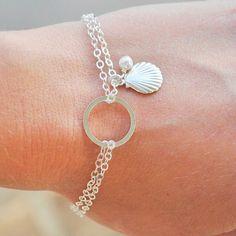 Silver Eternity Bracelet Sea Shell Bracelet by MyDistinctDesigns, $30.00