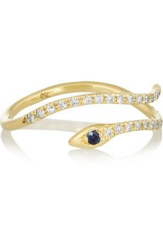 Diane Kordas 18-karat gold, diamond and sapphire snake ring | NET-A-PORTER