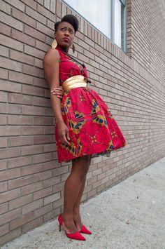 Red african print collar dress by Gitasportal2011 on Etsy
