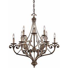 Transitional Platinum Bronze 9-light Chandelier