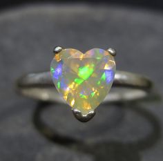 Natural Ethiopian Opal Heart Ring  Sterling by ZoZoDesignsUSA, $95.00