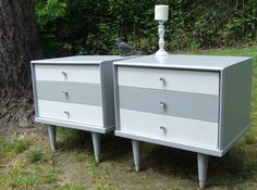 Two tone grey/white Mid Century Modern End Tables