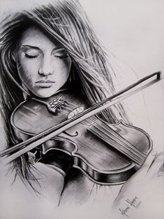 The violin is the best instrument o play! It's so much fun! The violin is the best instrumen Amazing Drawings, Beautiful Drawings, Cool Drawings, Amazing Art, Hard Drawings, Beautiful Artwork, Violin Drawing, Painting & Drawing, Pencil Art Drawings