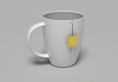An innovative mug with a slit for hanging a teabag. The slit prevents sucking the teabag string into the mug during pouring water. The graphic design suggest that the crack is longer and is a form of decoration.