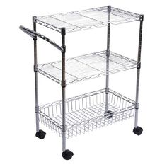 "Room Essentials™ 3-Tier Utility Cart with Wheels - Chrome 34.99 (32"" high. Look into switching out for nicer casters-- also add a wood block top that could add some height (and kitchen appeal)...."