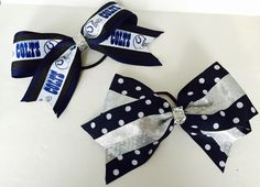 Indianspolis  Colts Cheer Bow Hair Bow Set of 2 by MeanMamaDesigns