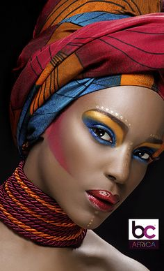 Stock Photo : black woman with bright colourful make-up African Beauty, African Women, Female Portrait, Female Art, Head Scarf Styles, African Accessories, African Head Wraps, Black Women Art, My Black Is Beautiful
