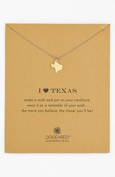 Free shipping and returns on Dogeared 'Reminder - I Heart Texas' Boxed Pendant Necklace. Your favorite state is suspended from a delicate chain necklace as a reminder of home pride.