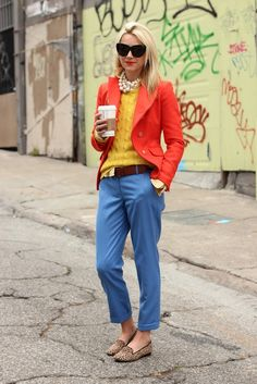 Love the mix of solid colors, yellow Ralph Lauren sweater with a J.Crew blazer and J.Crew cafe capri pants.