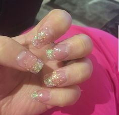 Long square sparkle embedded nails in nude pink