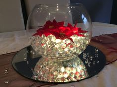 Fish bowl wedding centrepiece for Christmas themed weddings. Clear illuminated beads and red Christmas flowers. Available to hire for your wedding in Swansea, Neath, port talbot, Bridgend, porthcawl, Llanelli, Carmarthen and surrounding areas of South Wales from affinity event decorators www.affinityeventdecorators.com