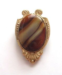 VINTAGE 50 S GOLD TONE BROWN GLASS AGATE MARBLE BROOCH