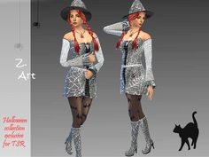 Cobweb Halloween set: costume, boots and hat by Zuckerschnute20 at TSR via Sims 4 Updates