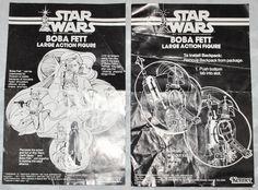 2 Vintage Original INSTRUCTION SHEETS for Kenner Star Wars BOBA FETT Large Action Figure 1979, RARE!!!