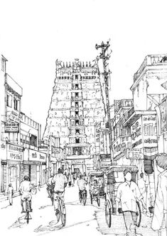 Sri Meenakshi Temple, Madurai by TomHopkinson on DeviantArt Perspective Drawing Lessons, Perspective Sketch, Temple Architecture, Indian Architecture, Drawing Architecture, Sustainable Architecture, Cityscape Drawing, Sketch Painting, Art Sketches