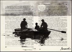 Print Art Ink Drawing Fishermen Boat Sea Painting by rcolo on Etsy, $10.00