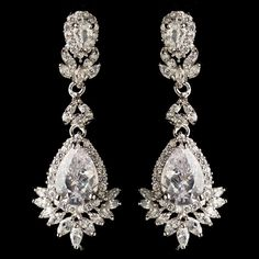 Marquise And Teardrop CZ Dangle Earrings