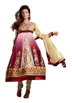 Gud Looking #Pink & #Cream Colored Anarkali