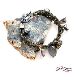 Create this special bracelet and necklace combo using the new JJB Mini Mix in Avocado on Everything and SilverSilk Chains