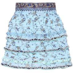 Poupette St Barth Bibi Printed Cotton Miniskirt ($225) ❤ liked on Polyvore featuring skirts, mini skirts, blue, cotton skirts, mini skirt, blue skirt, cotton mini skirt and short skirts