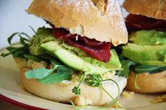 Chickpea, Bacon, Avocado & Rocket Sandwich [[MORE]] Ciabatta or sour doughbread, sliced80g rindless, leaneye baconChickpea spreadA han...