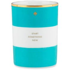 Kate Spade New York Turquoise Start Something New Turquoise Scented... ($40) ❤ liked on Polyvore featuring home, home decor, candles & candleholders, candles, turquoise, turquoise home decor, kate spade home decor, kate spade, turquoise candles and porcelain candle holders