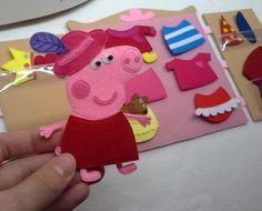 Peppa pig felt clothes dress up dolls quiet toy by WondersOfFelt