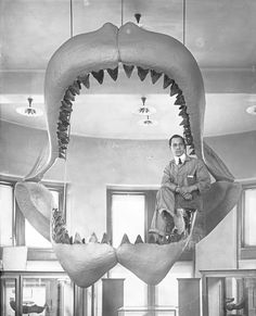 This photo was taken while the fossil jaws of a prehistoric shark, or Carcharodon megalodon, underwent restoration in 1927. (© AMNH/H.S. Rice)
