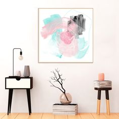 Pink and Blue Abstract Art, #Pink and #Blue Painting, #Printable Wall Art, #instant #Download, Large #Art #Prints, 20 x 20 inches by InspirationAbstracts on Etsy