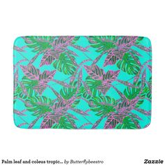 Shop Palm leaf and coleus tropical ice shower curtain created by Butterflybeestro. Tropical Bath Mats, Tropical Shower Curtains, Tropical Bathroom, Custom Shower Curtains, Tropical Design, Fire And Ice, Coral Pink, Memory Foam, Printing On Fabric