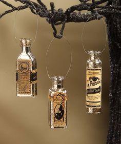 Mercury Glass Potion Bottle Ornaments Spooky Halloween - The Holiday Barn