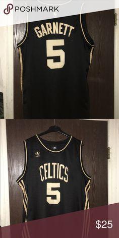 3fedad6f9 ... NBA Boston Celtics Jersey Black Gold Kevin Garnett 5 Celtics Throwback  ...