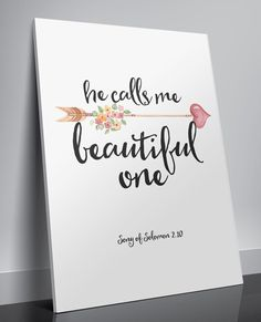 Proverbs 31 Woman Discover Song of Solomon He calls me beautiful Printable verses art Nursery decor Bible verse quotes art Scripture Christian wall art decor Nursery Bible verse He calls me beautiful by TwoBrushesDesigns I am going to do it for my kids Nursery Bible Verses, Bible Verse Art, Bible Verses Quotes, Scriptures, Bible Verses For Girls, Art Quotes, Beauty Bible Verses, Kids Bible, Canvas Quotes