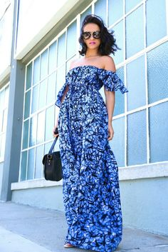 "ecstasymodels:  Into the Blue  Dress: KTRcollection "" Made To Order "" Off the Shoulder maxi dress 