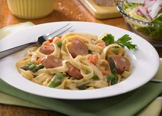 Creamy Fettuccine with Johnsonville Three Cheese Sausage
