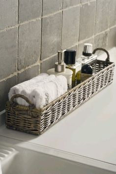 "to ""Hotel-ify"" Your Guest Bath by The Everyday Home – diy bathroom decor Bathroom Organization, Bathroom Storage, Organization Ideas, Storage Ideas, Bathroom Baskets, Basket Storage, Towel Storage, Bathroom Counter Decor, Storage Hacks"